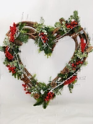 Large Christmas Heart Door Wreath: Booker Flowers and Gifts