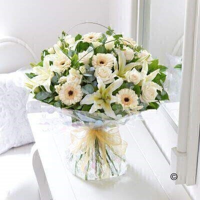 Large Cream Exquisite Hand-Tied: Booker Flowers and Gifts