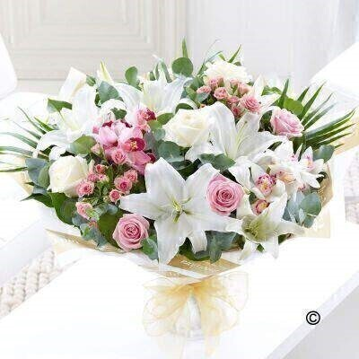 Large Orchid Lily and Rose Hand-tied: Booker Flowers and Gifts