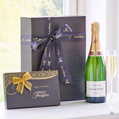 THIS PRODUCT CONTAINS ALCOHOL AND AS SUCH SHOULD ONLY BE BOUGHT FOR SOMEONE OVER THE AGE OF 18 This indulgent gift box combines a bottle of Champagne from one of the world s most esteemed Champagne brands Laurent Perrier with delicious chocolates from Maison Fougere a perfect combination for any celebration.