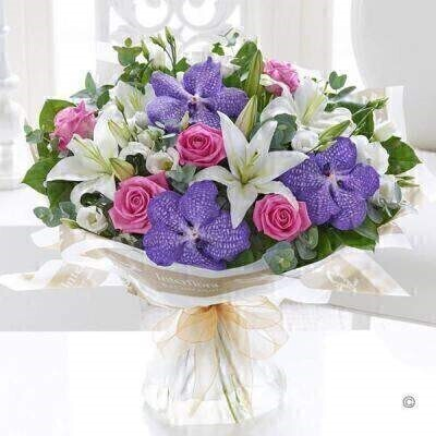 Lifestyle Vanda Orchid and Rose Hand Tied: Booker Flowers and Gifts