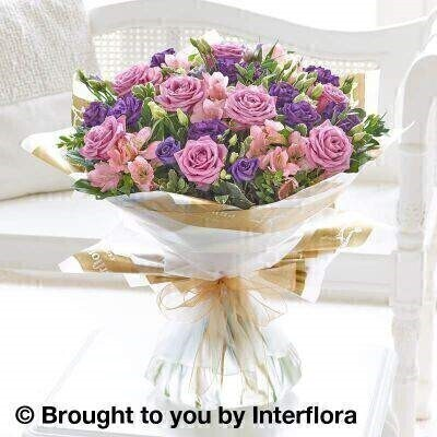Lilac Rose and Alstromeria Hand Tied - Extra Large: Booker Flowers and Gifts