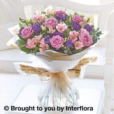 Lilac Rose and Alstromeria Hand Tied - Large: Booker Flowers and Gifts