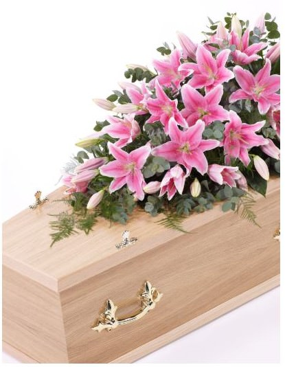 Lily Casket Spray - Pink Extra Large: Booker Flowers and Gifts