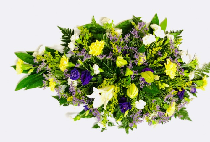 Extra Large Lemon and Blue Teardrop Spray | Funeral Flowers