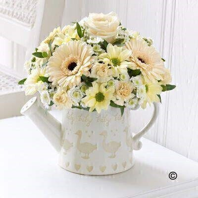 Little Duckling Watering Can - Cream: Booker Flowers and Gifts