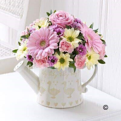 Little Duckling Watering Can - Pink: Booker Flowers and Gifts