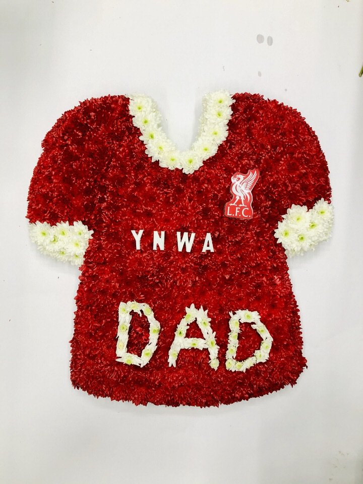 Liverpool Football Shirt Funeral Tribute: Booker Flowers and Gifts