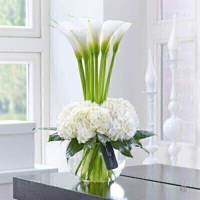 Vase IncludedThis contemporary designer arrangement is right on trend. Weandacirc;andeuro;andtrade;ve chosen ultra-fashionable calla lilies in pristine white and created a surround of sumptuous hydrangea blooms with their richly textured flowers. The contrast of smooth elegance and delicate detail is just glorious.Featuring white Snowball hydrangea and white Avalanche calla lilies with aralia leaves and lily grass expertly arranged in a swirl glass globe and finished with luxury gold and black gift wrapping for maximum impact when your gift is delivered.This product contains 13 stems.Approximate Product Dimensions:Height: 50cm Width: 27cm