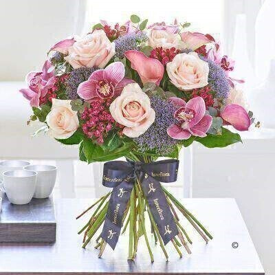 Luxury Calla Lily and Orchid Blush Pink Hand Tied: Booker Flowers and Gifts