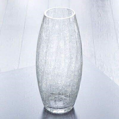 THIS ITEM WILL NEED TO ACCOMPANY A FLOWER ORDER OR BE A COMBINATION OF EXTRA ITEMS TO REACH OUR MINIMUM ORDER OF 25<br><br>This tall glass vase has a softly rounded bullet shape and features an unusual crackle effect on the glass which catches the light beautifully.<br><br>The glass vase is 30cm high making it perfect for longer stemmed flowers. It has a top diameter of 8.5cm.