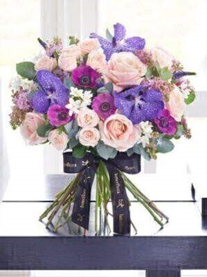 Luxury Vanda Orchid and Rose Hand Tied: Booker Flowers and Gifts
