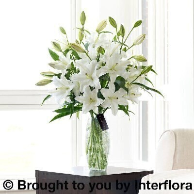 Luxury White Oriental Lily Vase: Booker Flowers and Gifts