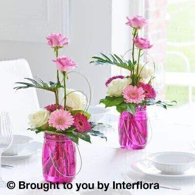 Magenta Table Lantern Decoration Duo: Booker Flowers and Gifts