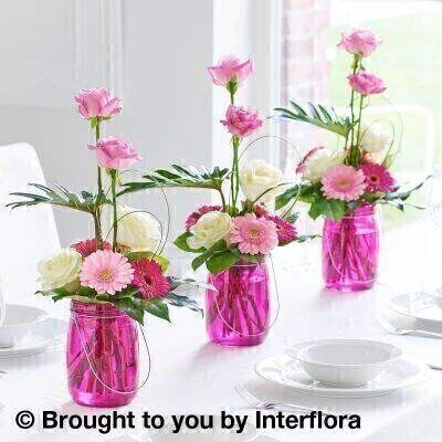 Magenta Table Lantern Decoration Trio: Booker Flowers and Gifts