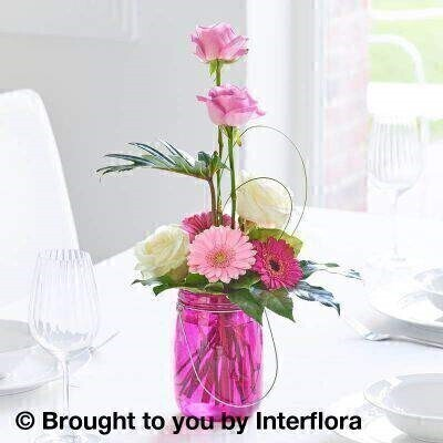 Magenta Table Lantern Decoration: Booker Flowers and Gifts