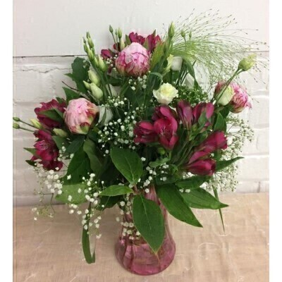 Meadowy Pink Peony Vase of Flowers: Booker Flowers and Gifts