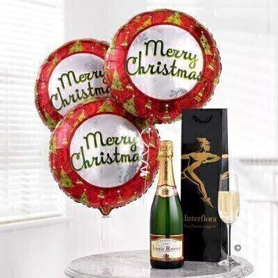 Merry Christmas Balloon and Champagne Gift Set: Booker Flowers and Gifts