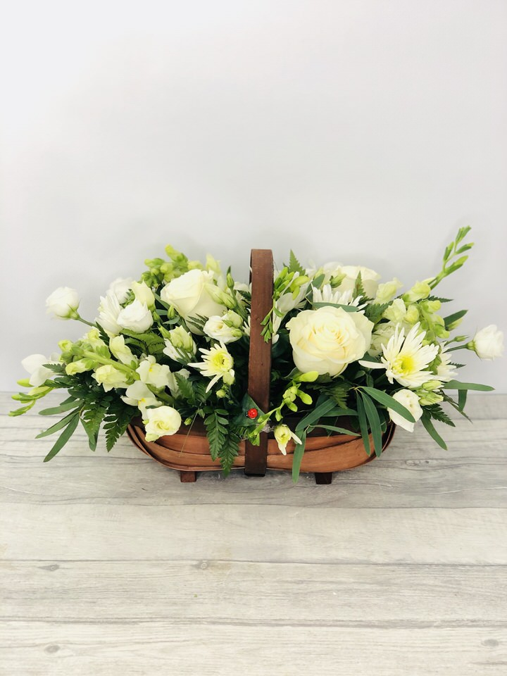 White Flowers - Sympathy Flowers in a basket