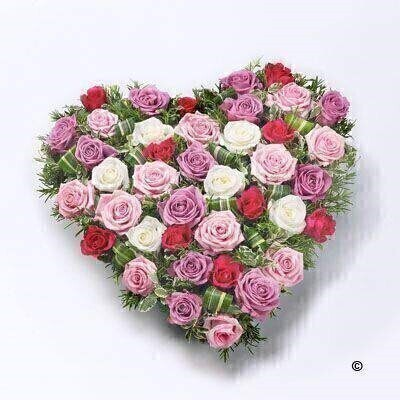 Large-headed roses in lilac - red and white and short-Stem roses in pink are nestled into an solid heart shape amongst dracaena and rosemary.