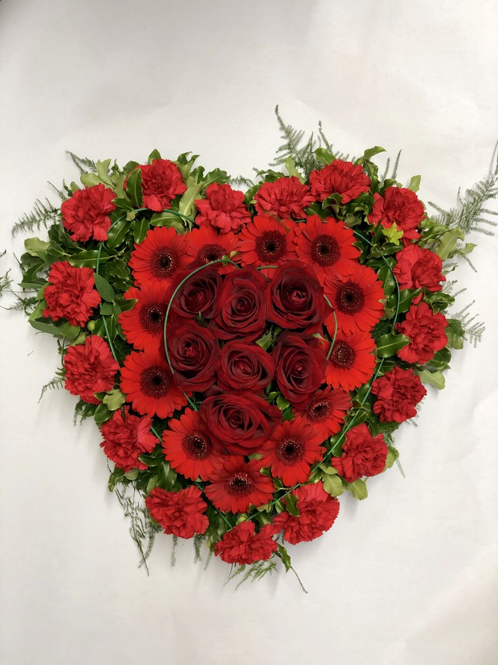 Red Heart-Shaped Modern Design | Funeral Flowers