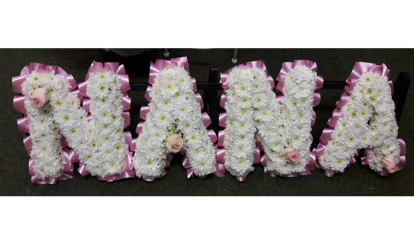 NANA White Funeral Letters | Funeral Flowers