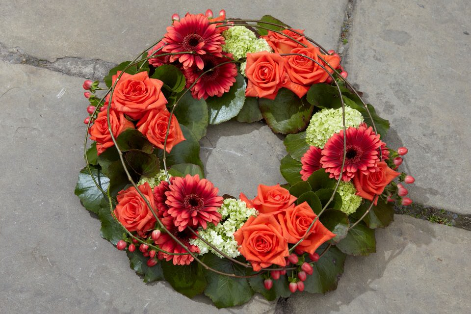 Orange Rose and Gerbera Wreath | Funeral Flowers
