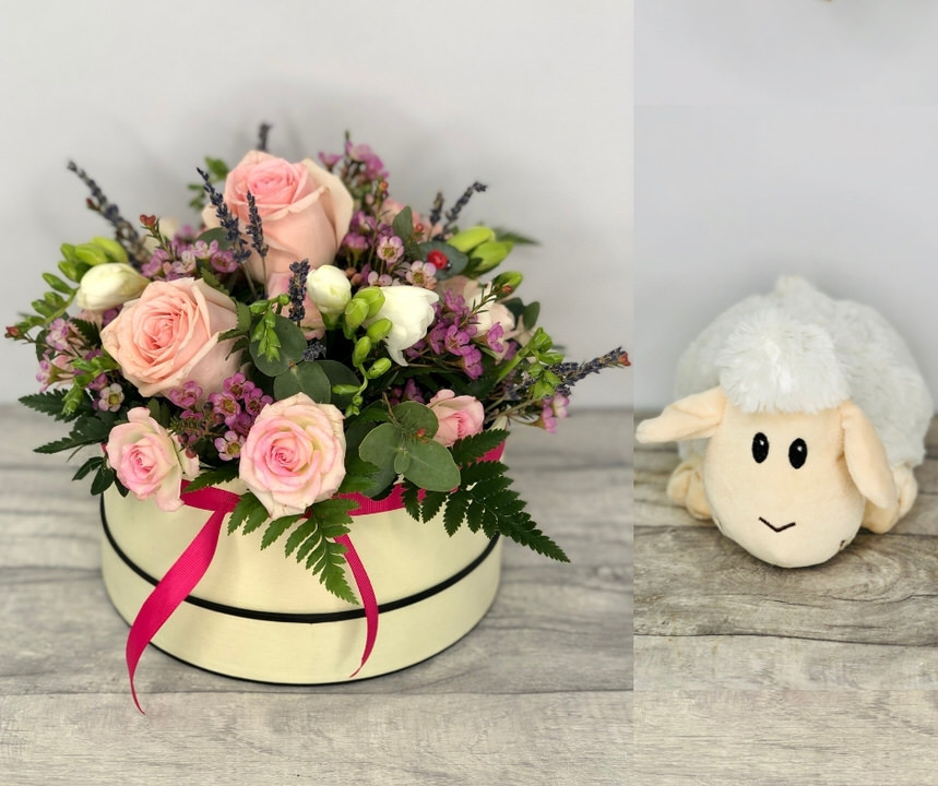 New Baby Flowers in a Hatbox and Cute Teddy Bear