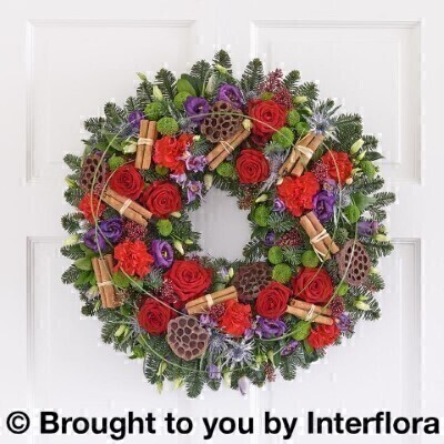 Nordic Charm Deluxe Christmas Door Wreath: Booker Flowers and Gifts