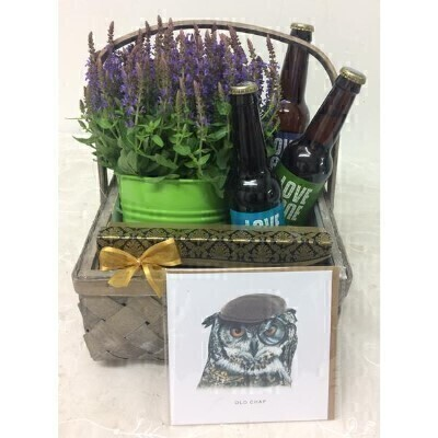 Gifts for Men House Plant Craft Beer <br><br> We have hand selected this lovely range of gifts arranged and presented them in pictured basket  To give you the best occasionally we may make substitutes Contains Alcohol only for over 18s Approximate dimensions 30x30x33cm This product is only available for delivery Liverpool areas that we would cover ourselves. So postcodes beginning with L1 L2 L3 L4 L5 L6 L7 L8 L11 L12 L13 L14 L15 L16 L17 L18 L19 L24 L25 L26 L27 L36 L70 <br><br> This gift basket contains a blue salvia plant in green zinc pot cover 125gm Maison Fougere Belgium Chocolates Three Love Lane Craft Beers made in here in Liverpool by Higsons Brewery Large Old Chap Owl greeting card by local artist Rebecca Christian<br><br> Liverpool Flower Delivery<br><br> We offer advanced booking flower delivery same day flower delivery 3 hour Flower delivery guaranteed AM PM or Evening Flower Delivery and we are now offering Sunday Flower Delivery.<br><br> The best florist in Liverpool<br><br> Come to Booker Flowers and Gifts Liverpool for your Beautiful Flowers and Plants if you really want to spoil we also have a great range of Wines Champagne Balloons Vases and Chocolates that can be delivered with your flowers. To see the full range see our extras section. You can trust Booker Flowers and Gifts can deliver the very best for you.