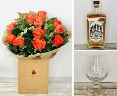 Orange Roses and Spiced Rum Gift Set: Booker Flowers and Gifts