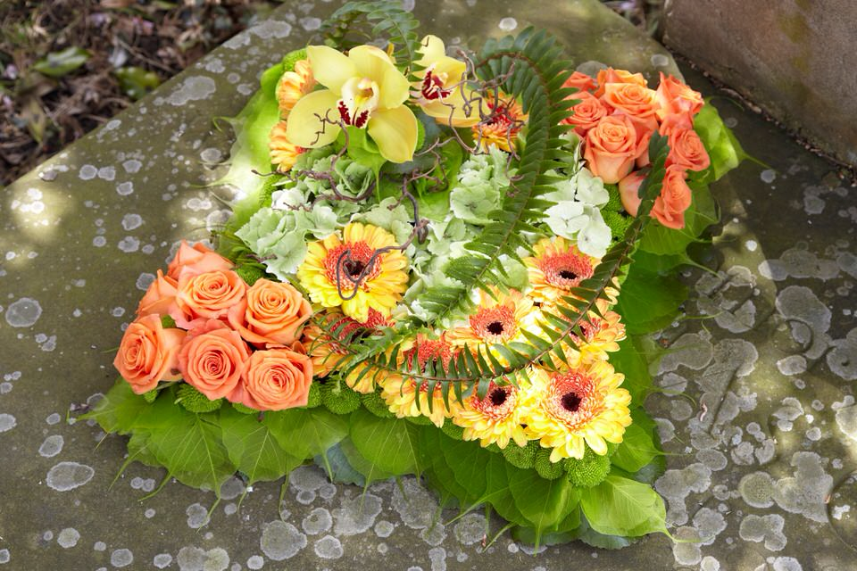 Orange and Green Contemporary Cushion | Funeral Flowers