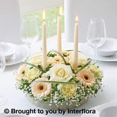 Pastel Rose and Germini Candle Centrepiece : Booker Flowers and Gifts