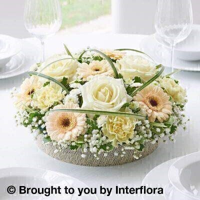Pastel Rose and Germini Centrepiece : Booker Flowers and Gifts