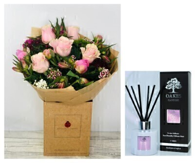 Peony and Rose Hand-tied with Room Diffuser: Booker Flowers and Gifts