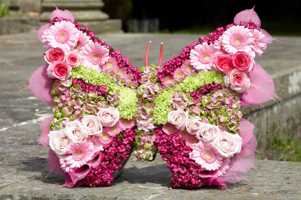 Bespoke Butterfly Tribute in Pink | Funeral Flowers