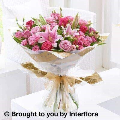 Pink Flowers  Luxury Flowers <br><br>Liverpool Flower Delivery<br><br>We offer advanced booking flower delivery same day flower delivery 3 hour Flower delivery guaranteed AM PM or Evening Flower Delivery and we are now offering Sunday Flower Delivery. .<br><br>Hand arranged by our florists To give the best occasionally we may make substitutes Our flowers backed by our 7 days freshness guarantee Approximate dimensions 50x48cm This product is available for delivery throughout the UK<br><br>THIS PRODUCT COMES HAND ARRANANGED AND GIFT WRAPPED IN A WATER BUBBLE PRESENTED IN A BOX If they admire fresh lilies and perhaps also have a soft spot for traditional roses this bouquet is ideal. Combining two enduringly popular luxury varieties this gift elegantly showcases these gorgeous flowers  and spans the pink colour spectrum beautifully.<br><br>Featuring 4 pink large headed roses 4 pink lisianthus a pink Oriental lily 4 cerise large headed roses and 4 pink spray roses with salal and dracaena wrapped and trimmed with a gold organza ribbon.<br><br>The best florist in Liverpool<b><b>Come to Booker Flowers and Gifts Liverpool for your Beautiful Flowers and Plants if you really want to spoil we also have a great range of Wines Champagne Balloons Vases and Chocolates that can be delivered with your flowers. To see the full range see our extras section. You can trust Booker Flowers and Gifts can deliver the very best for you