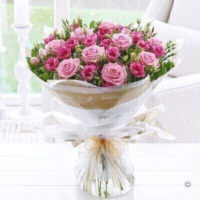 Pink Lisianthus and Rose Hand Tied - LARGE: Booker Flowers and Gifts