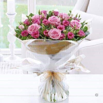 Pink Lisianthus and Rose Hand Tied - STANDARD: Booker Flowers and Gifts