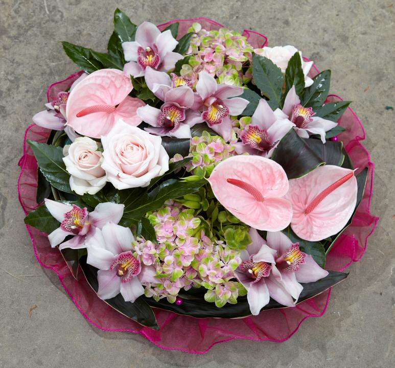 Pink Orchid and Anthurium Posy | Funeral Flowers