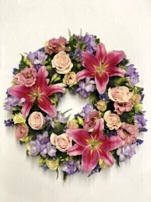 Pink Rose Freesia and Lily Wreath: Booker Flowers and Gifts