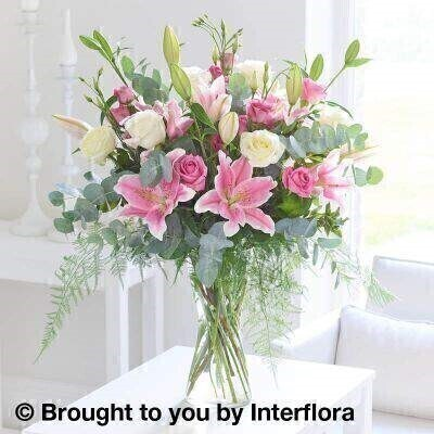 Pink Sophistication Rose  Lily and Lisianthus Vase: Booker Flowers and Gifts
