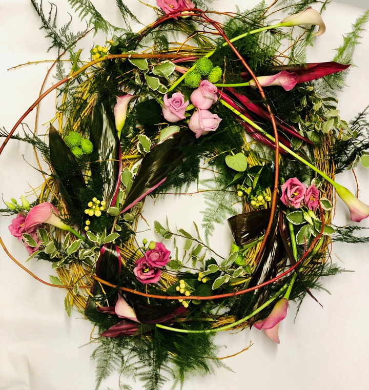 Pink Calla Lily and Orchid Woodland Wreath | Funeral Flowers