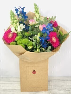 Pink and Blue Summer Handtied Bouquet: Booker Flowers and Gifts
