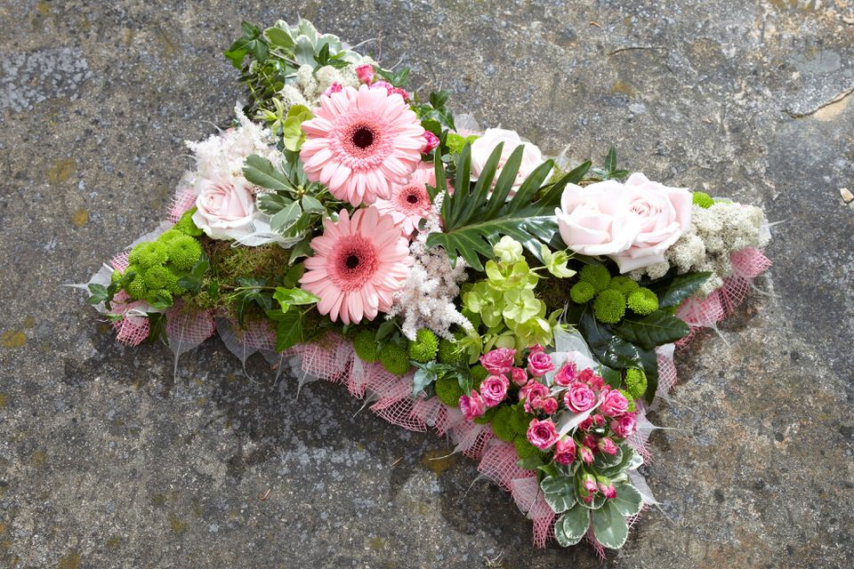 Pink and Green Pillow Funeral tribute: Booker Flowers and Gifts