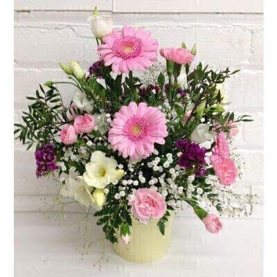 Pink and White Tin Pot Flower Arrangement: Booker Flowers and Gifts