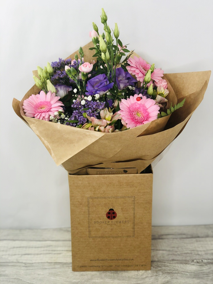 Pinks and Purples Hand Tied Bouquet: Booker Flowers and Gifts