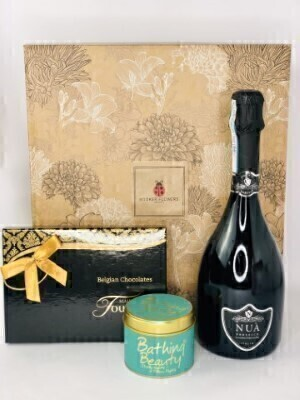 Prosecco Candle and Chocolates Hamper: Booker Flowers and Gifts