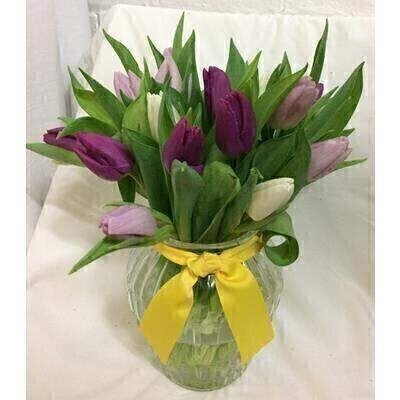 Purple Tulip Vase with Yellow Ribbon: Booker Flowers and Gifts