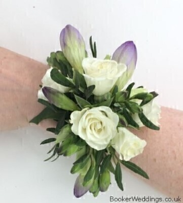 Purple and White Flower Wrist Corsage - Flowers on a Bracelet